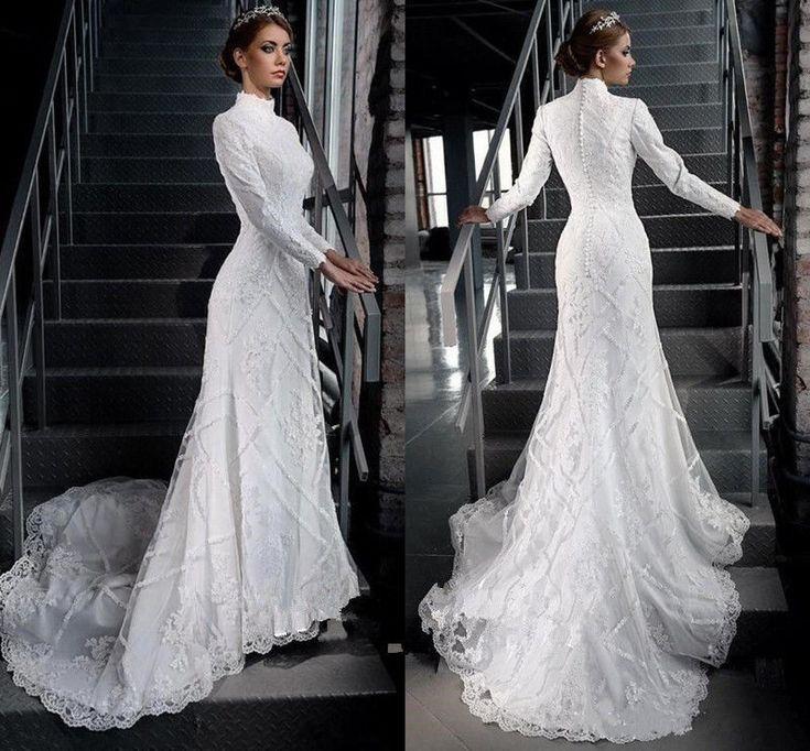 The 25 best muslim wedding dresses ideas on pinterest for Long sleeve turtleneck wedding dress