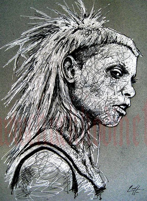 Yolandi Visser - Original Drawing - Die Antwoord Yo landi Visser South Africa Rap Rave Hip Hop Techno DJ Record zef ZEF Culture Indie Ninja