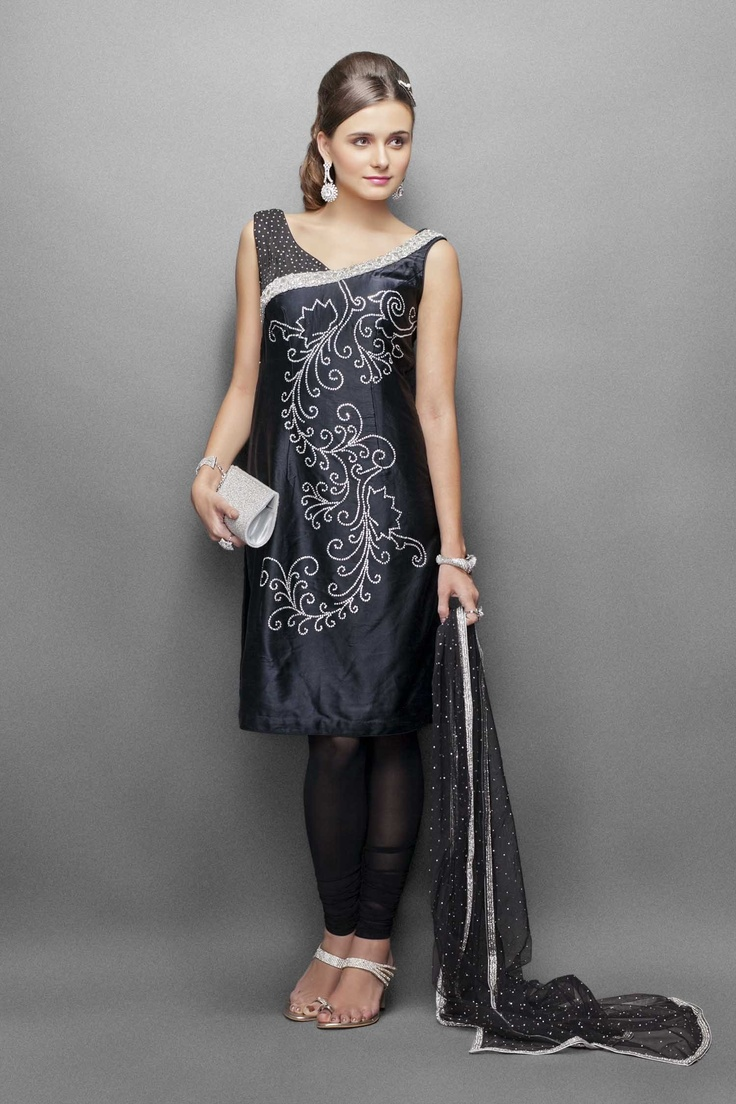 Urban chic stylish black satin suit embellished with silver crystals & dimonte work
