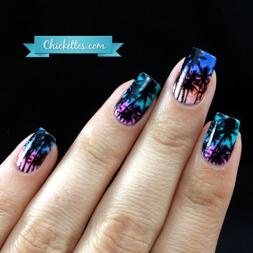 Beach Sunset Nails with NCLA Nail Wraps | Nail Art