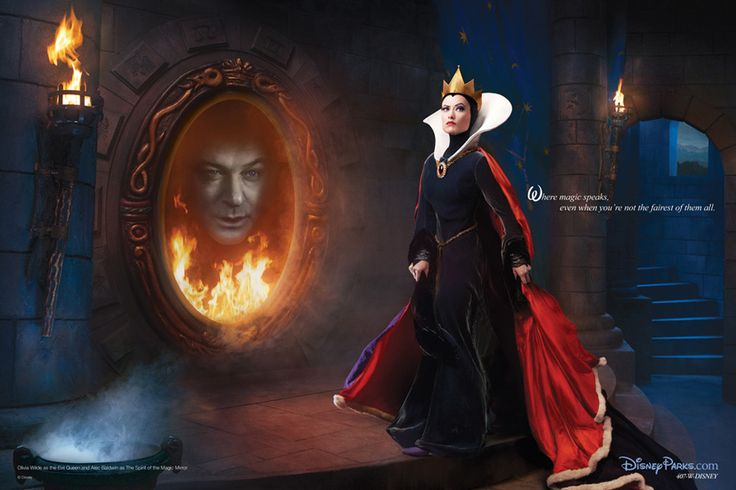 Where magic speaks, even when you're not the fairest of them all. Olivia Wilde and Alec Baldwin as the Evil Queen and Magic Mirror from Snow White and the Seven Dwarfs. ~Portrait by Annie Leibovitz