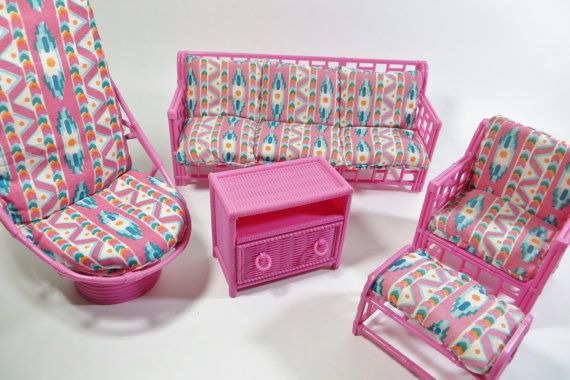 Vintage Pink Living Room Furniture  Barbie Size by Iprefervintage, $20.00