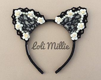 Scarlett Cat Ears / Nekomimi Headband with Bow by LoliMillie