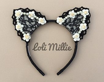 Scarlett Cat Ears / Nekomimi Headband with Bow by LoliMillie