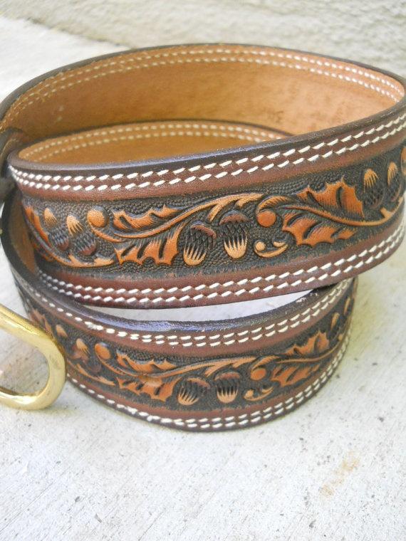 Mens vintage tooled leather belt