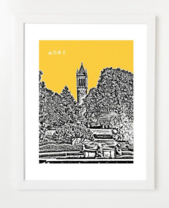 Ames+Iowa+Art+Print++Ames+Skyline+Poster++Ames+by+BugsyAndSprite,+$20.00 navy blue background
