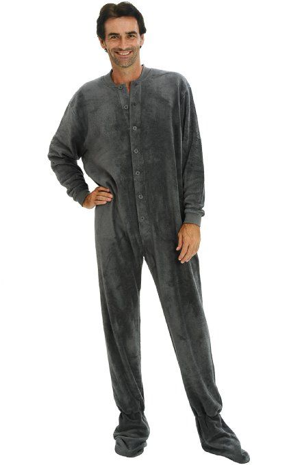Men's Fleece Footed One Piece Onsie #Pajamas with Drop Seat