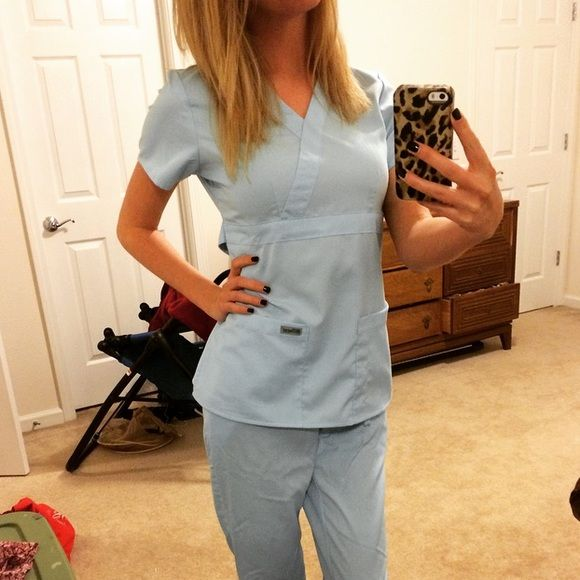 aeff104f71b Grey's Anatomy Sky Blue Scrubs EXCLUSIVE color 'Sky Blue' Grey's Anatomy  scrub set. Bought these and decided I wouldn't wear the color…
