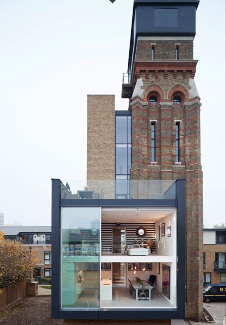 Spectacular luxury home Utterly derelict, the tower was listed for £395,000 in 2008, and bought by Leigh Osbourne and Graham Voce who converted it into a spectacular luxury home. The tower now houses four bedrooms and 360 degree views across London, with a lift shaft alongside the tower, while at the bottom is a new, modern living space nicknamed the 'Cube'.