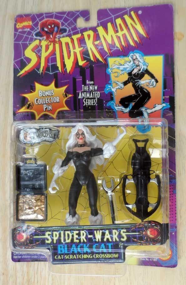 Spider-Wars Black Cat Spider-Man Animated Series Toy Biz, 1996 NEW