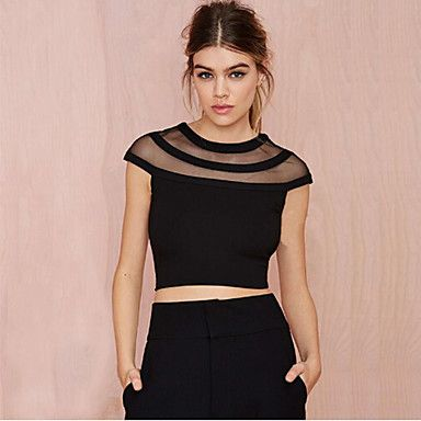 Sexy/Hverdagslig KVINNER - T-Skjorter ( Mesh ) – NOK kr. 88  diy. gjør stor mesh t-skjorte kortere? tenk vidde og fokus skuldre og bryst.