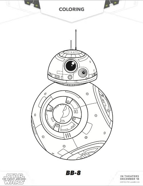 Free Star Wars BB8 Coloring pages; The Force Awakens BB8 Free coloring ... Lego Star Wars R2d2 Coloring Pages