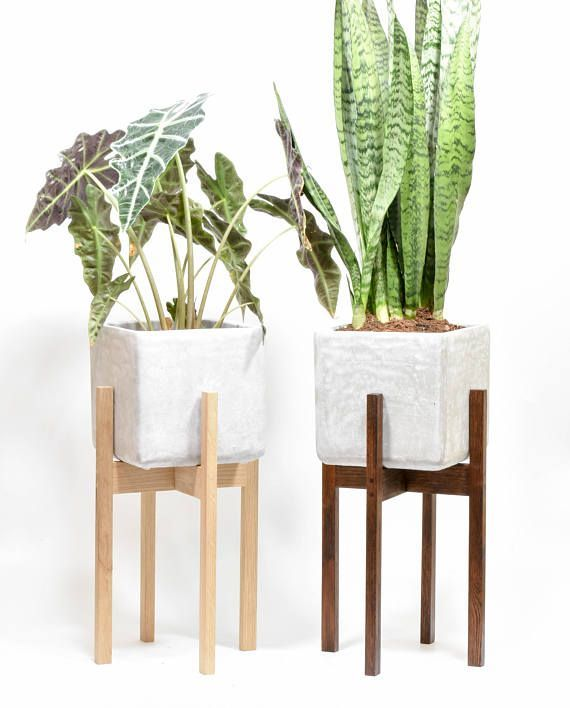 Modern Planter Stand With Cement Pot Mid Century Modern Modern Planters Mid Century Modern Planter Wood Planters
