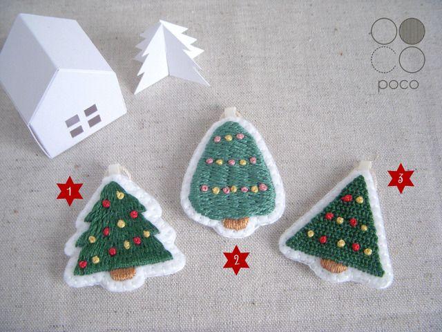 クリスマスの刺繍オーナメント