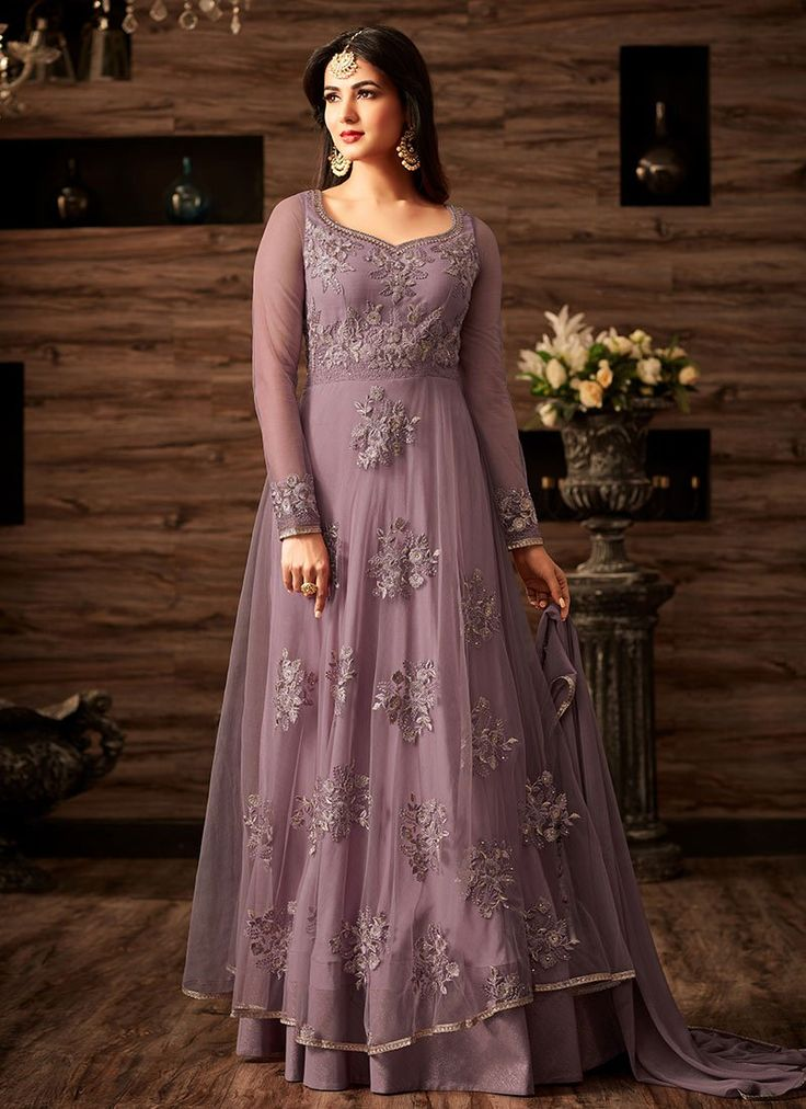 Buy Light Violet Net Abaya Style Anarkali Suit online, SKU Code: SLSCC4807. This Violet color Party anarkali suit for Women comes with Embroidered Net. Shop Now!