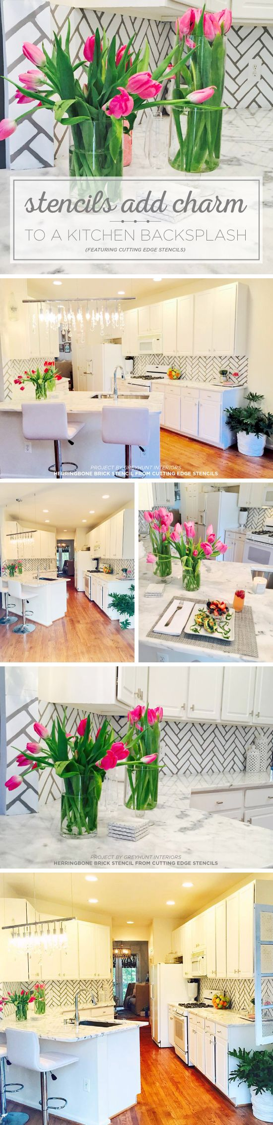 Cutting Edge Stencils shares a DIY kitchen makeover with a stenciled backsplash using the Herringbone Brick Allover pattern. http://www.cuttingedgestencils.com/herringbone-brick-pattern-stencil-wall-decor.html