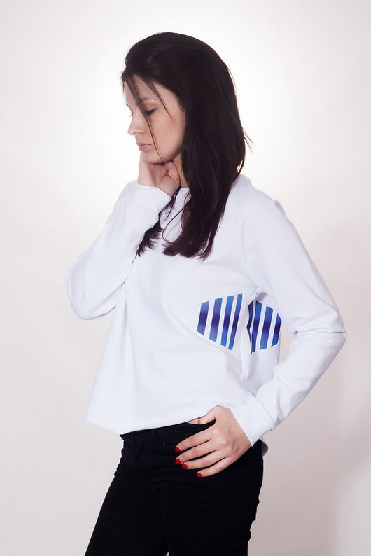 WHITE & BLUE STRIPES /bluza z grafiką odblaskową