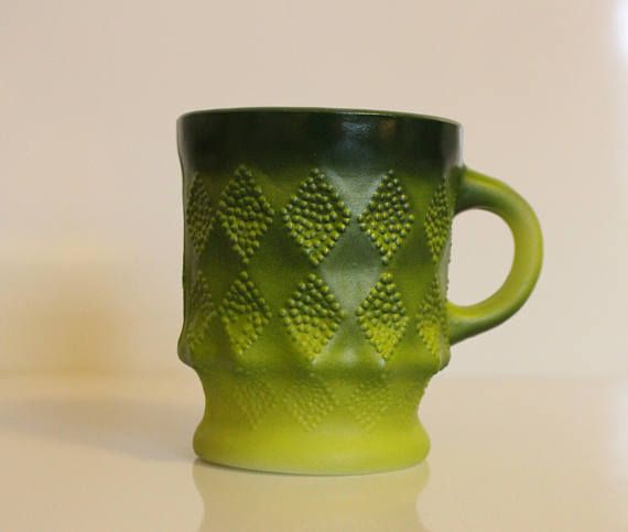 Fire King Green Ombre Kimberly Coffee Mug  Green With