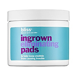 What it is:An ingrown-hair treatment.What it is formulated to do:Bliss Ingrown Eliminating Pads help nix ingrown hairs anywhere on the body. A must between waxing or shaving sessions, these single-use swipes tackle hair-raising lumps and bumps with a