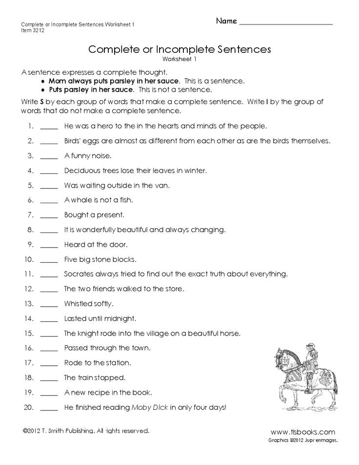 Complete or Incomplete Sentences Worksheet 1