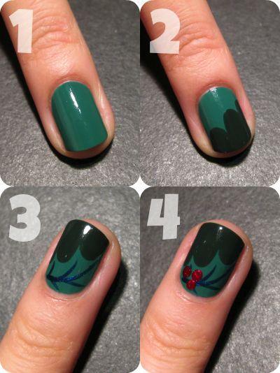 Christmas Holly Leaf Nails | - Christmas Nail Art