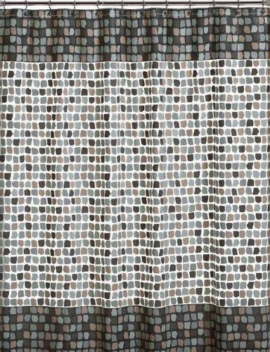 Mosaic Tiles PEVA Vinyl Shower Curtain In Shades Of Taupe Grey U0026 Brown On  Clear