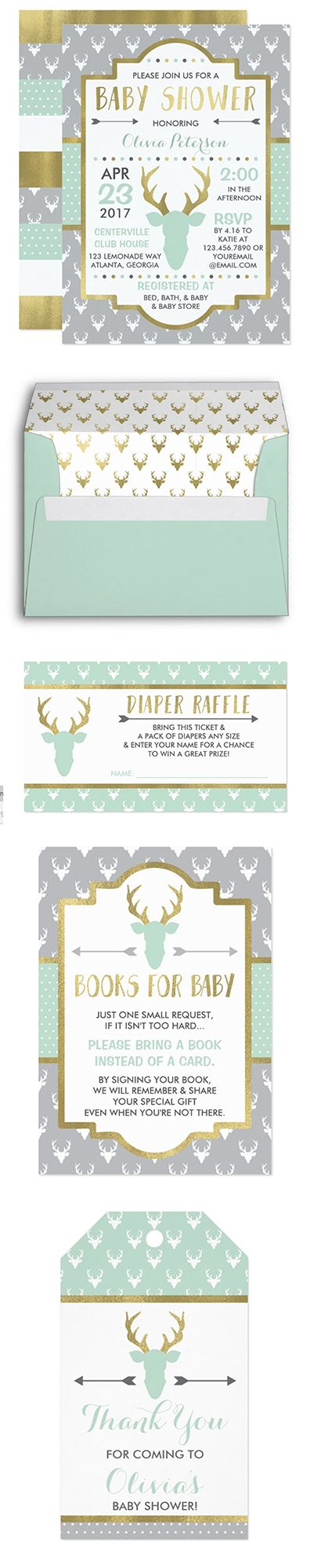 Woodland Deer Baby Shower in Mint and Gold, Antlers