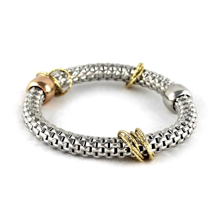 White Gold over Sterling Silver Large Mesh Bracelet with Beads. These bracelets are made from sterling silver plated with either white, yellow or rose gold - total of 3 variations. Bracelets are very flexible and stretchable. Beads and rings on the bracelets are adjustable, you can move them freely along the bracelet. Made in Italy. Bracelet is 6.5 inches long and stretches up to 8.5 inches.