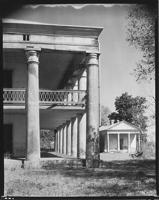 Corner Colonnade of Uncle Sam Plantation House and Smaller Greek Temple Building, St. James Parish, Louisiana Walker Evans (1935)