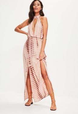 Nude Tie Dye Halterneck Cut Out Split Maxi Dress