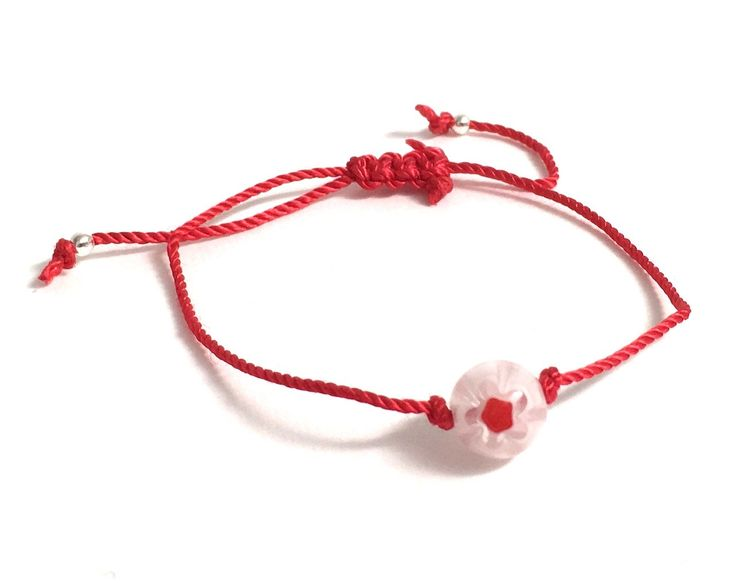 Red String of Fate, Silk Red String Bracelet White Flower Murano Glass Bead #jewelry #bracelet #red #silk #girls #white #lovefriendship #redstringbracelet #stringoffate #redbracelet #bridal #friendship