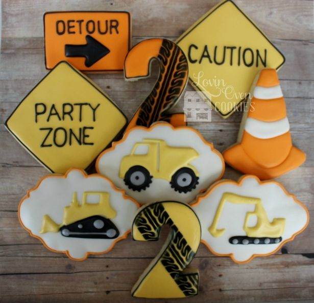 Construction Decorated Sugar Cookies -  Birthday Age Number, Bulldozer…