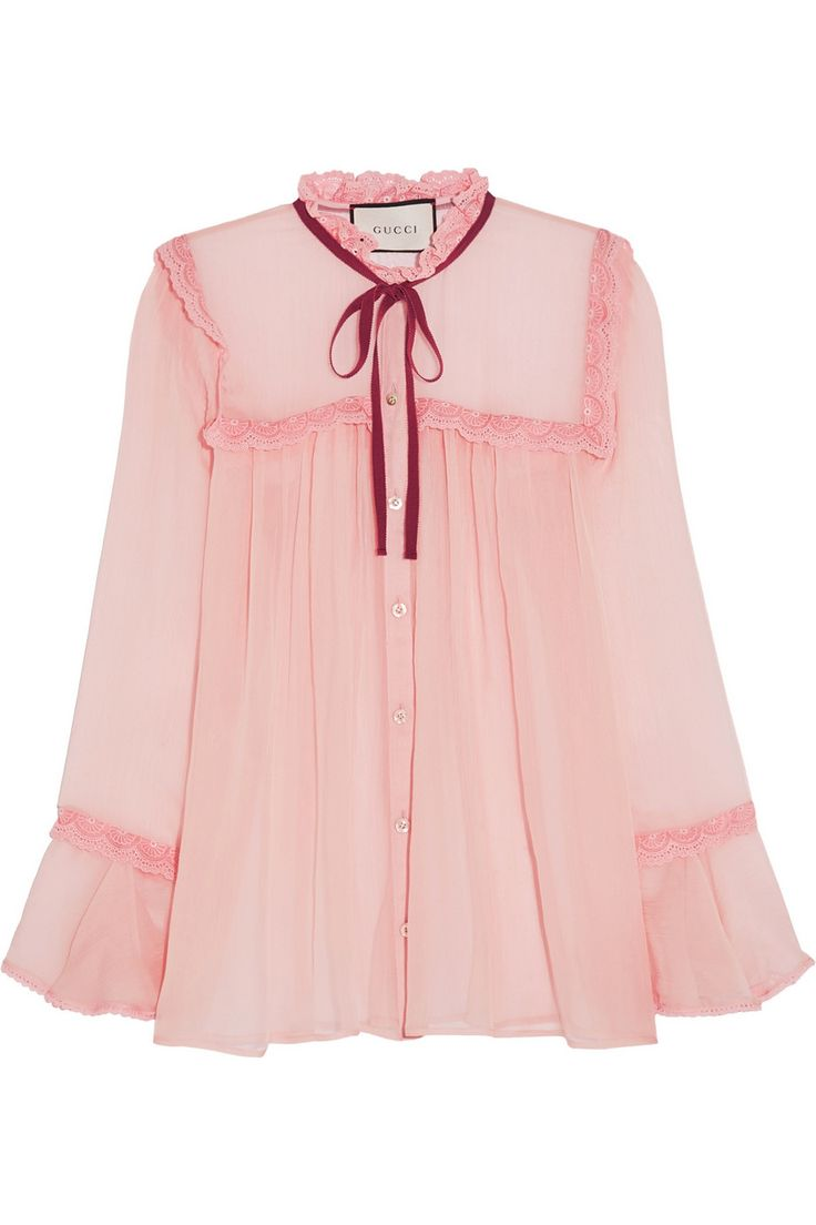 Baby-pink crinkled silk-chiffon Button fastenings through front 100% silk; trim1: 100% polyamide; trim2: 70% silk, 30% cotton; trim3: 50% cotton, 50% viscose Dry clean Designer color: Soft Rose/ Red Made in Italy