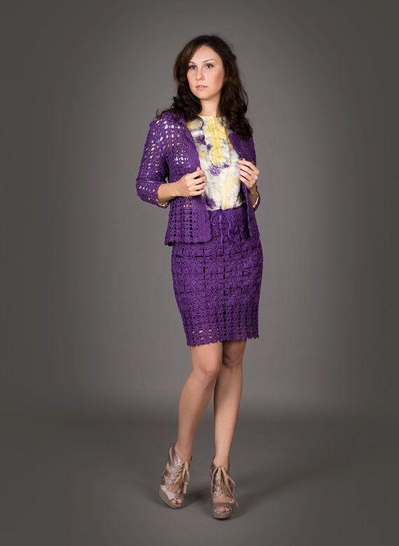 Blue violet exclusive crochet twopiece suit by LecrochetArt, $960.00