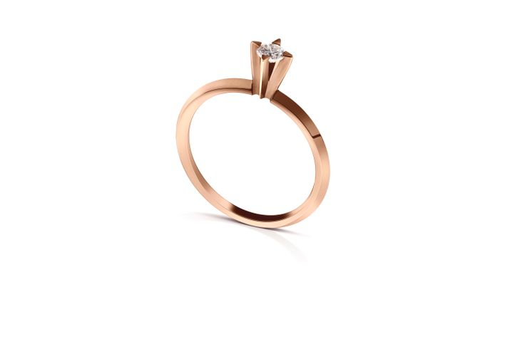 18K Rose Gold Ring with Diamond.