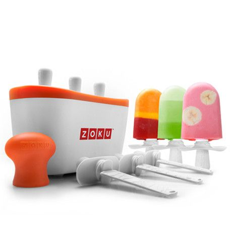 Freeze ice pops in as little as seven minutes with the patented Zoku Quick Pop® Maker! Make striped pops, yogurt pops, or even flavored core pops right on your
