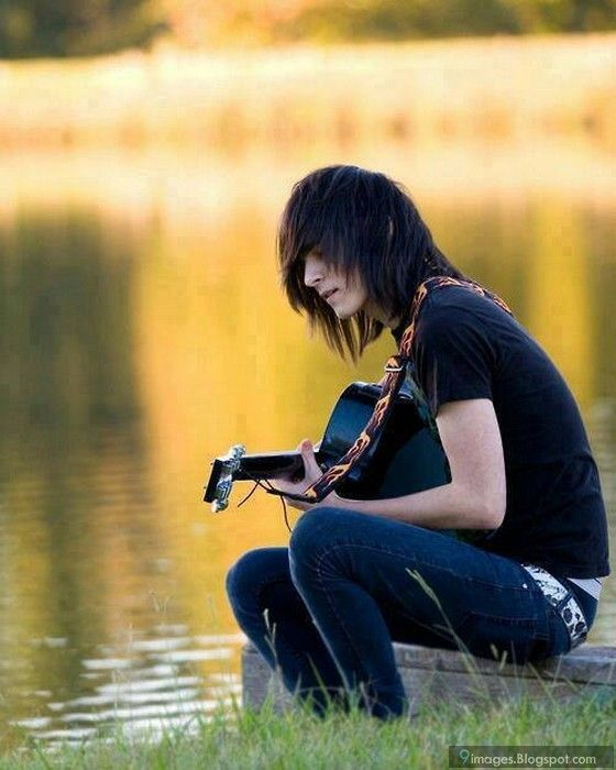 Emo Boy Alone Playing Guitar Lake Beautiful Projects To