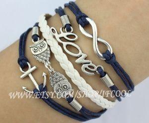 Bracelet Infinity, Bracelet de l'amour, bracelet d'ancrage, hiboux bracelet, argent antique-personnalisé bracelet, bracelet d'amitié par ifcool
