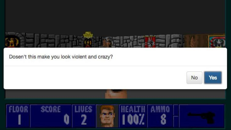 'Wolfenstein 3D' mod asks you politely whether you want to shoot NazisDoesnt it? Image:  Stan Schroeder/Mashable/Ramsey Nasser  By Stan Schroeder2017-02-07 11:33:12 UTC  Thanks to a recent incident in which alt-right leader Richard Spencer got punched in the face on camera an odd ethics question arose: Is it ever OK to punch a Nazi?  Now a modified Wolfenstein 3D game  the classic game in which you wander around a castle shooting Nazis  takes that question to its extreme: Is it ever OK to…
