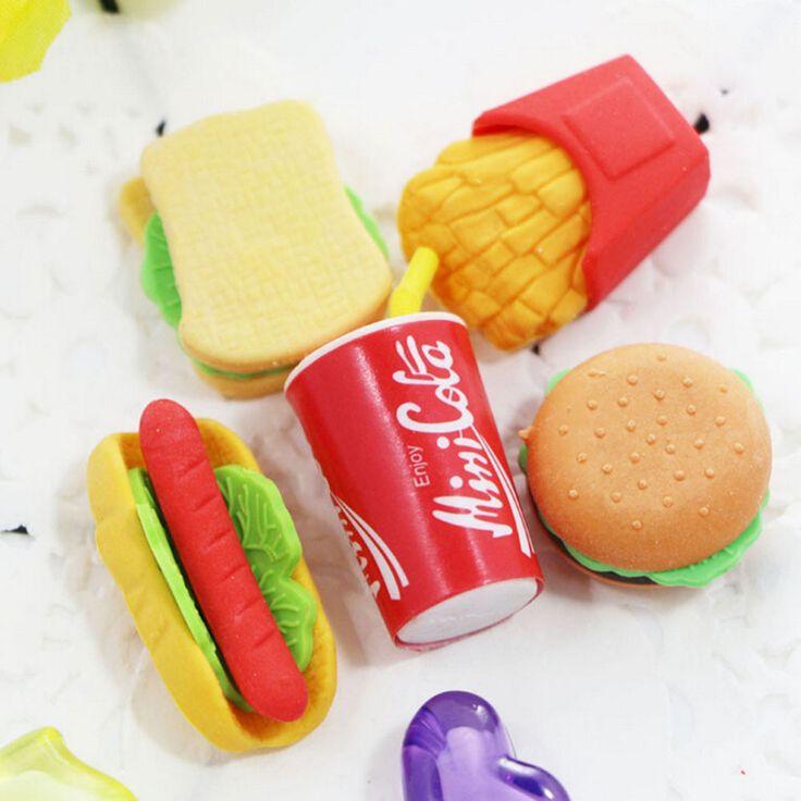 1 Unid Lindo Kawaii Pastel Hamburguesa Comida Bebida Cola Sistema del Borrador De Goma School Stationery Office Borrar Suministros Fruta Regalos de Los Niños en Gomas de Borrar de Office & School Supplies en AliExpress.com | Alibaba Group
