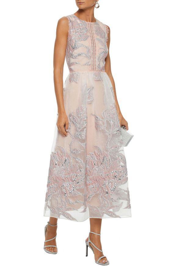 bde79c7684d The Outnet | Marchesa Notte - Lace-trimmed metallic fil coupé organza gown