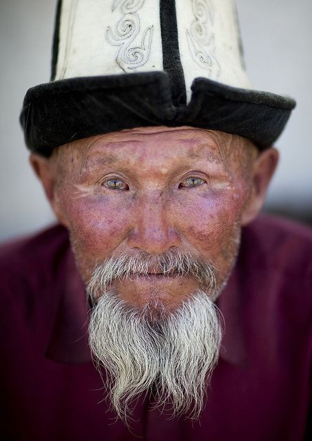 He wears official male hat for the Kyrgyz people. Made of embroidered wool with a felt lining, it deflects the summer sun rays but traps heat rising from the top of the head in the winter, making it an excellent all season hat.  Credit:Eric Lafforgue