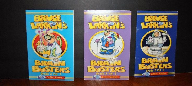 Bruce Larkins  Brain Busters Grade 2 Vol 1 2 3 LOT Questions Answers Fun Learn