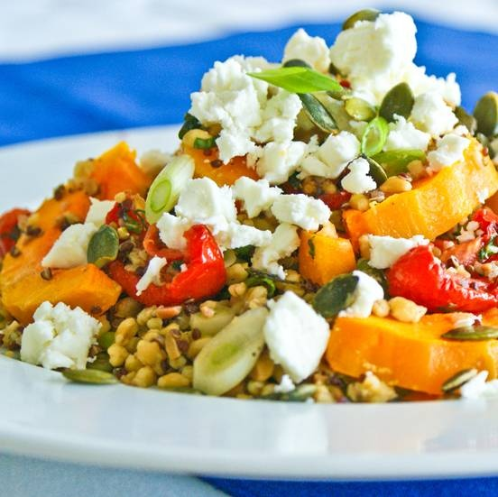 Butternut Squash, Feta and Sun-Dried Tomatoe Salad with mixed grains from Merchant Gourmet