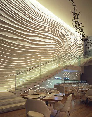 The Blue Fin Restaurant at the W, Times Square - The wall is by Surface Interiors, interior design by Yabu Pushellberg.