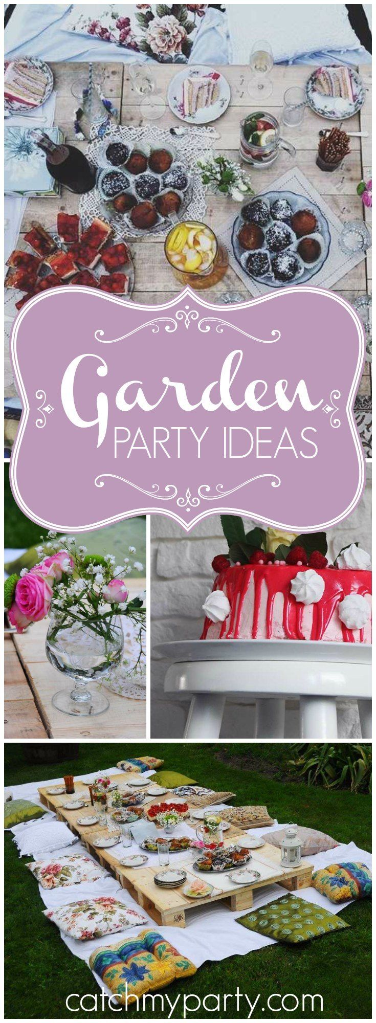 You have to see this outdoor garden party with so many lovely details! See more party ideas at Catchmyparty.com!