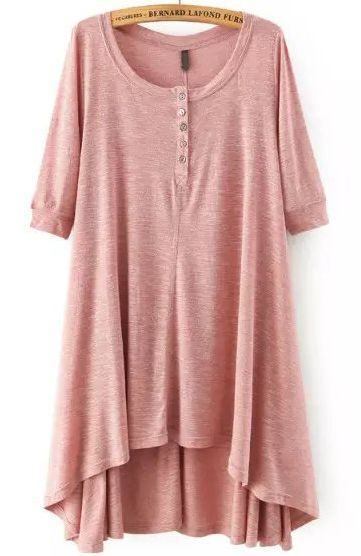 japanese online fashion store Pink Short Sleeve Buttons High Low Dress