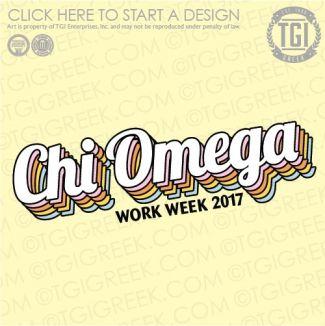Chi Omega | ΧΩ | Work Week | Recruitment | TGI Greek | Greek Apparel | Custom Apparel | Sorority Tee Shirts | Sorority T-shirts | Custom T-Shirts