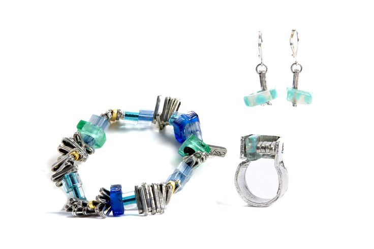 Montreal Designer, Anne Marie Chagnon glass and pewter bracelet, earrings and ring.