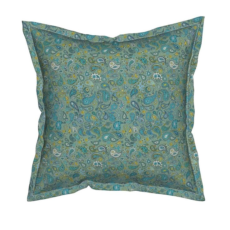 Serama Throw Pillow featuring AquaAndSun-Paisley_melanieortner by funkenflug | Roostery Home Decor